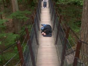CA Niel taking a nap on the suspension bridge