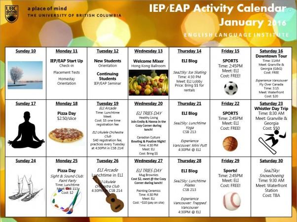January 2016 – IEP/EAP Winter Activity Calendar