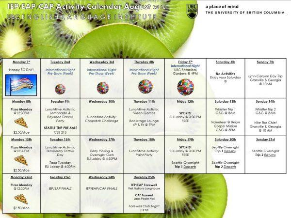 IEP/EAP Summer Activity Calendar