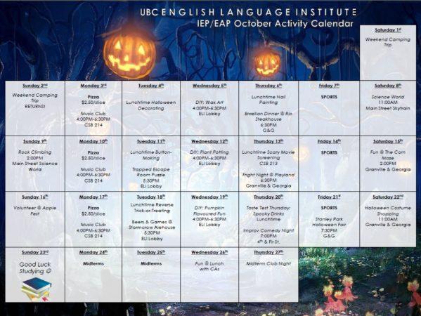 October 2016 – IEP/EAP Fall Activity Calendar