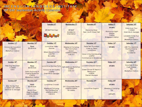 September 2016 – IEP/EAP Fall Activity Calendar