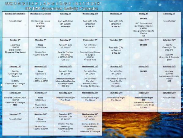 November 2016 – IEP/EAP Fall Activity Calendar