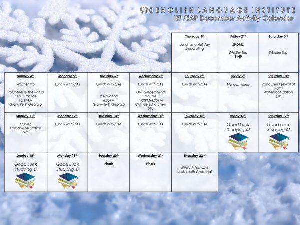 December 2016 – IEP/EAP Fall Activity Calendar